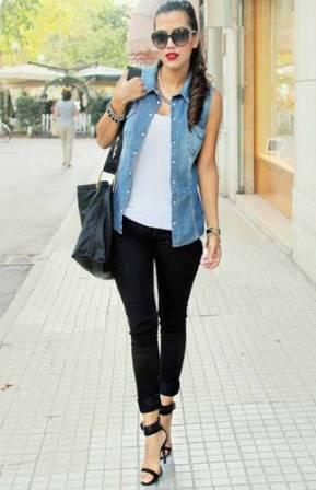 Look veste jean sans manche femme